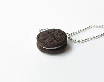 Small Oreo necklace (handmade of polymer clay/Oreo cookie jewelry