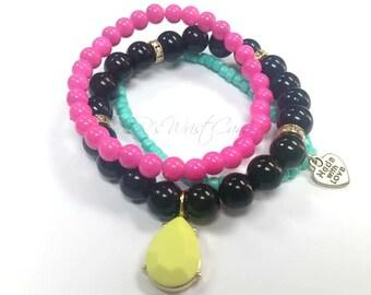 Colorful Beaded Bracelets, Bracelet Trio, Stackable,Womens Jewelry,Stretch,Neon,Charm Bracelet, Handmade, Custom Beaded Jewelry