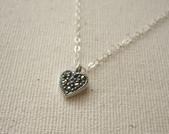 Tiny Heart Necklace - Sterling Silver Heart inset with Swiss Marcasite - Love Jewelry