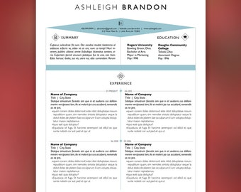 Art Field Resume Template and Cover Letter Template for Word | DIY Printable 3 Pack | Icons, Blue, Instant Download, InDesign | BRANDON
