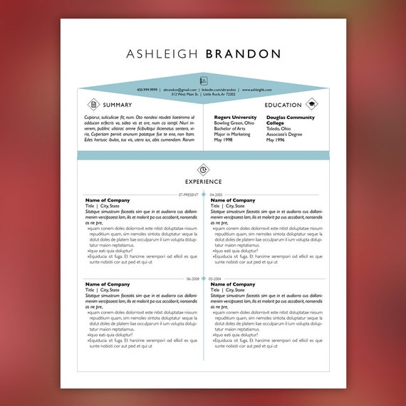 Creative Resume Template and Cover Letter Template for Word | DIY Printable 3 Pack | Icons, Blue, Instant Download, InDesign | BRANDON