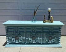 SOLD***************************Gorgeous French Country Buffet, Sideboard, Credenza, Media Console, Vintage Turquoise/Teal Dresser