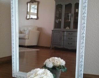 SOLD---------------Large Distressed Ornate White Mirror-Shabby Chic/Chippy White Mirror-Vanity Mirror-Nursery-Farmhouse Chic Home Decor