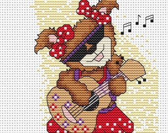Cute Teddy Girl with Guitar Cross Stitch Pattern Instant Download PDF