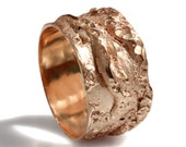 Rustic 14k solid Rose gold ring, wide band, man band, handmade textured ogranic design, wide men band, men's gold wedding band, rough look