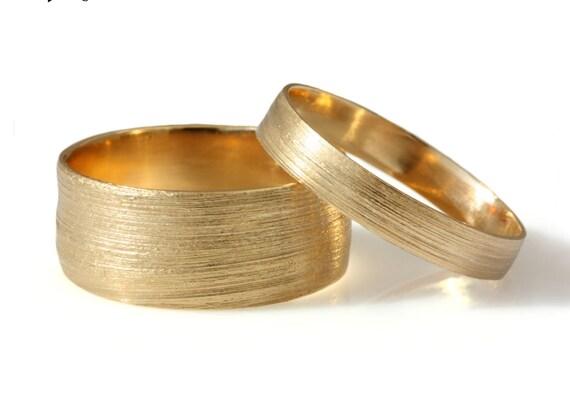 Matching bands 14k yellow Gold wedding set wide men wedding
