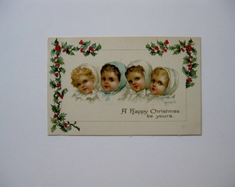Christmas Vintage Post Cards - A Happy Christmas Be Yours - Published by Ernest Nister, London - Series 2048 - Used