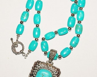 Turquoise Necklace with Removable Pendant - S2386
