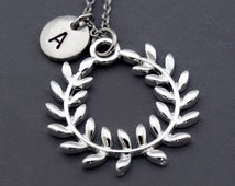 Olive wreath necklace, Silver Olive wreath, kotinos, initial necklace, initial hand stamped, personalized, antique silver, monogram