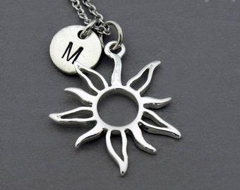 Sun outline necklace, Sun charm jewelry, Silver sun necklace, Celestial necklace, initial necklace, personalized, antique silver, monogram