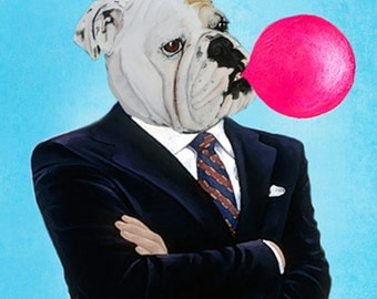 English Bulldog with bubblegum, Dog Illustration Frenchie Art Print Painting wall art wall decor Digital Print Dog picture dog print