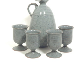 Vintage Studio Pottery Pitcher and 4 glasses