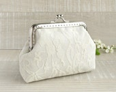 White lace wedding purse, bridal clutch small with kisslock