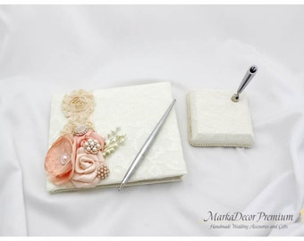 READY TO SHIP Wedding Lace Guest Book and Pen Set Custom Made in Ivory, Champagne and Peach with Handmade Flowers, Brooches