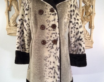1970s Faux Leopard Fur Coat by Collins & Aikman -- Soft and Luxurious