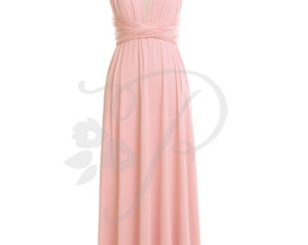 Bridesmaid Dress Infinity Dress Blush Floor Length Wrap Convertible Dress Wedding Dress