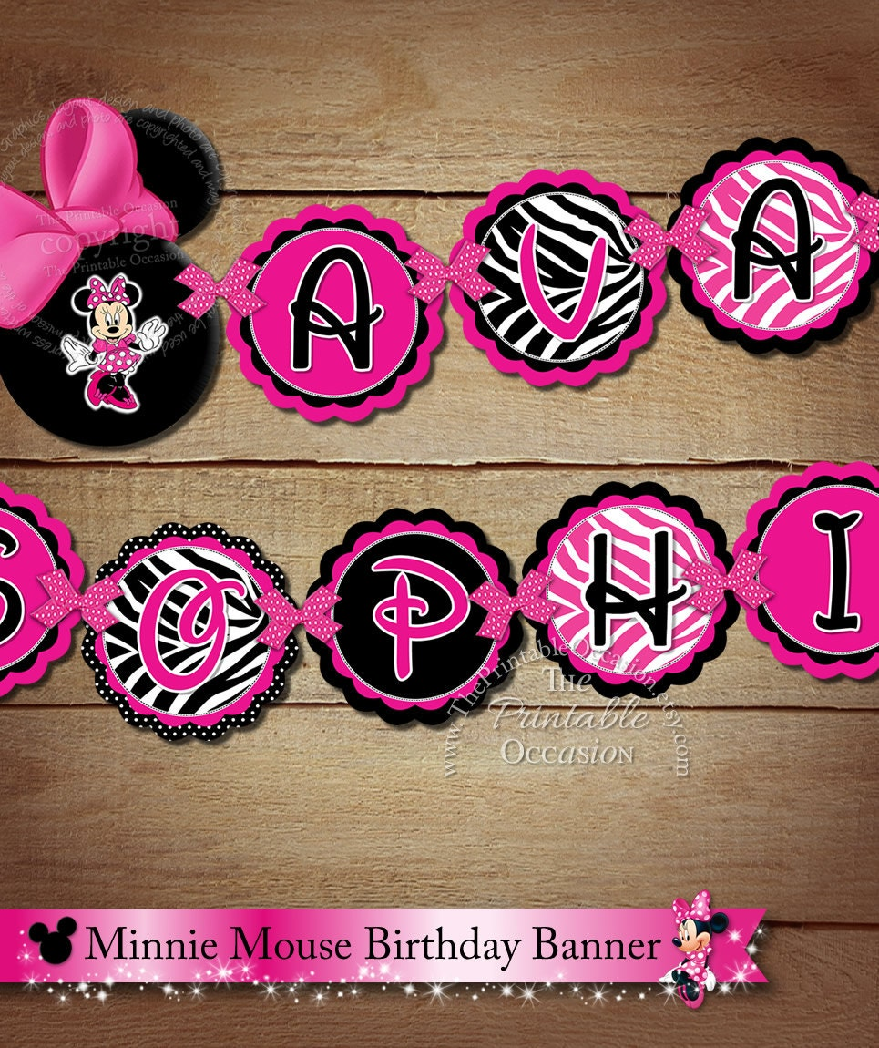 PRINTABLE Minnie Mouse NAME To Match Happy Birthday Banner