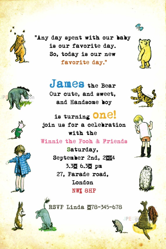 Classic Winnie the Pooh Party Invitation Vintage Pooh Bear – Winnie the Pooh Party Invitations