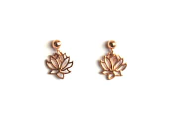Little Rose Gold Lotus Stud Earrings, Dangle Charm Posts, Rose Gold Plated Sterling Silver Lotus Flowers
