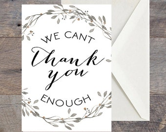 Wedding Thank you Card, Laurel, Garland, Bombshell Font, Thankyou, DIY Printable Invitation, Engagement, Print at Home, Invite, Fun, Unique