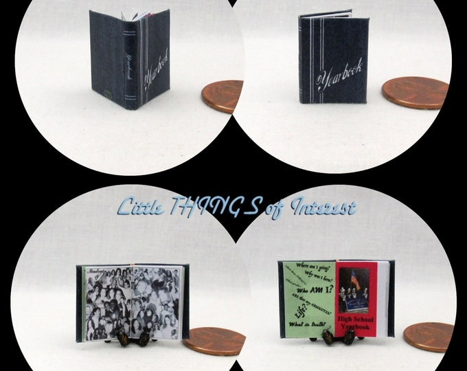 Miniature Book -- YEARBOOK Miniature Dollhouse Book 1:12 SCALE Illustrated High School GRAD #1