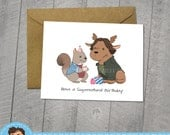 Supernatural Birthday Card, Moose and Squirrel, Approximately 5 x 7 Blank Card, Kraft Envelope, Dean Winchester, Sam Winchester, Fan Art