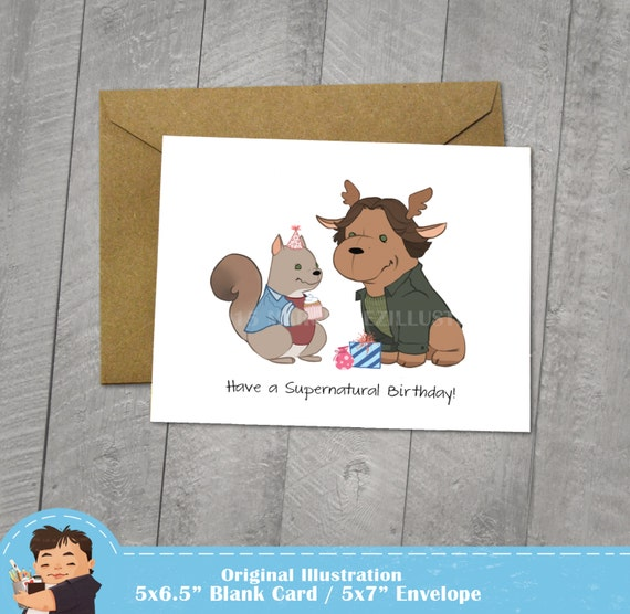 Supernatural Birthday Card Moose And Squirrel Approximately