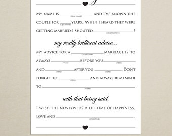 INSTANT DOWNLOAD - Wedding Advice Mad Lib - 5x7 - Printable Wedding Game