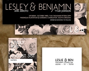 Simple Modern Garden Rose Wedding Invitation