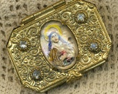Antique Rosary Box with Reverse Painted and Carved Centerpiece