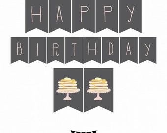 INSTANT DOWNLOAD Pancake Party Banner. Birthday Breakfast Theme Banner. Short Stacks party. Printable Party Banner Pancake Party Item 410