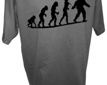MENS Bigfoot Sasquatch Evolution Caveman Paranormal Ufos Aliens Area 51 Yeti T Shirt