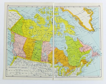 Small Canada Map, Small Vintage Map of Canada, 1920's or 1930's map, paper ephemera, small map