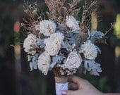Rustic Dried Bouquet with Sola Flowers, Tallow Berries and Dusty Miller