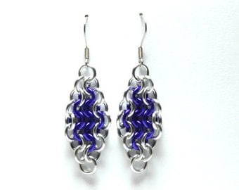Purple and Silver Anodized Aluminum Chainmaille Earrings