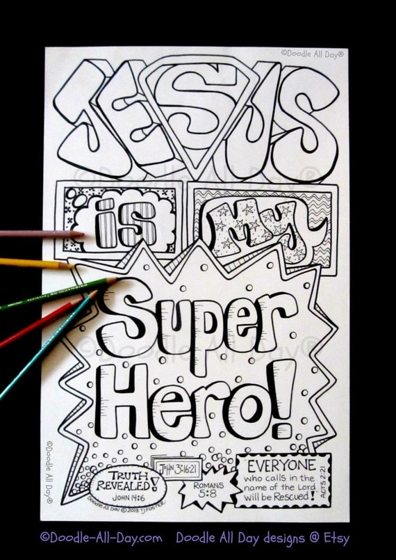 Jesus Is My Super Hero By DoodleAllDaydesigns On Etsy