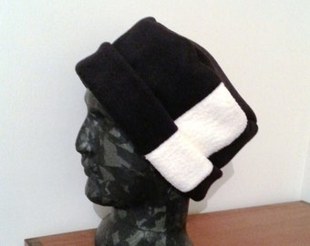 Black and white womens hat - fleece black hat - large hat - soft womens hat - womens fleece hat - soft chemo hat