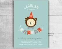 Boys Teddy Bears Picnic Invitation - 1st 2nd 3rd 4th 5th birthday party, kids party invites - pdf printable
