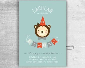 Boys Teddy Bears Picnic Invitation - 1st 2nd 3rd 4th 5th birthday party, kids party invites - pdf printable
