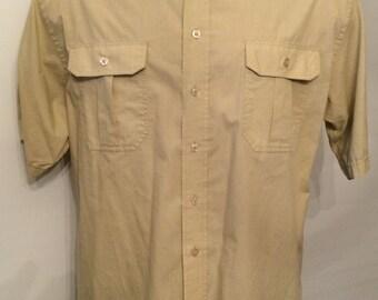 On Sale Vintage MENS 1980s Knightsbridge military styled short sleeve shirt with epaulettes