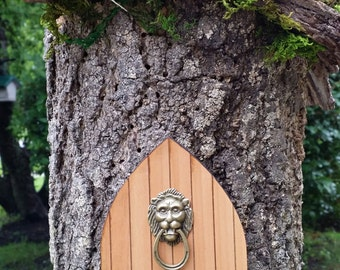 Fairy Garden Door with Medieval Lion Door Knocker - Miniature Fairy Garden Accesory