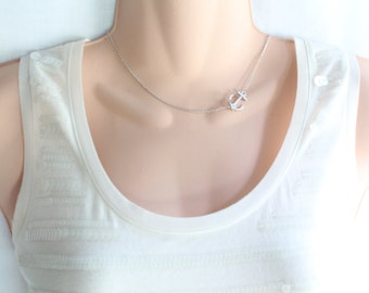Sideways Anchor Necklace, Gold Anchor Necklace, Silver Anchor Necklace , Rose Gold Anchor Necklace
