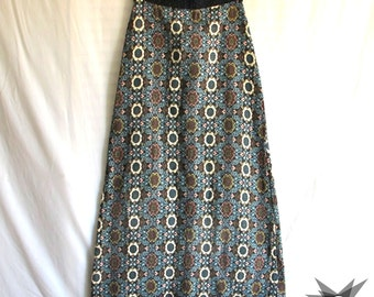 Vintage 1970's Bohemian Floral Tapestry Column Maxi Skirt Size Small