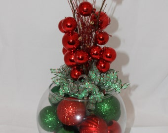 Christmas Centerpiece - Red and Green Holiday Decor