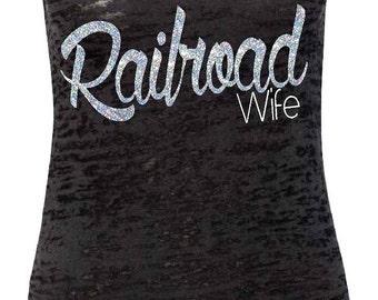 Railroad Wife. Black Burnout Razorback Tank Top - Silver GLITTER. Rail Wife. Railroader. Rail Road. Railroader Wife Shirt. Fitness Tank