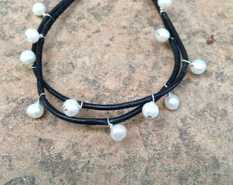 Pearl and leather double strand handmade bracelet