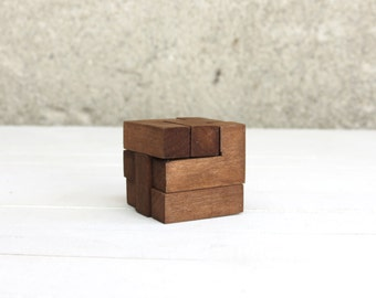 Wooden Puzzle Box, Toy Box, Wooden Games, Kids Gift, Learning Toy, Block Puzzle, Eco Friendly Toy, Small Cube Decor, Wooden Gift