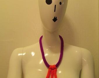 Neon Orange and Purple Knit Necklace