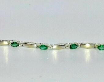 2.60 ct Emerald & Diamond 10k White Gold 7 inch Bracelet