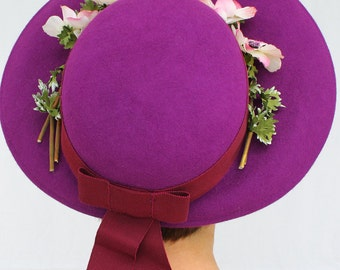 Custom Order: Vintage 1940s-Style Wide Brim Bonnet with Flowers
